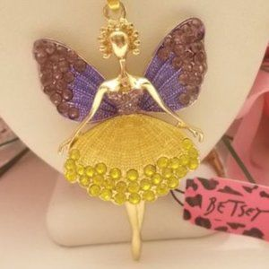 Betsey Johnson Rhinestone Fairy Angel Necklace